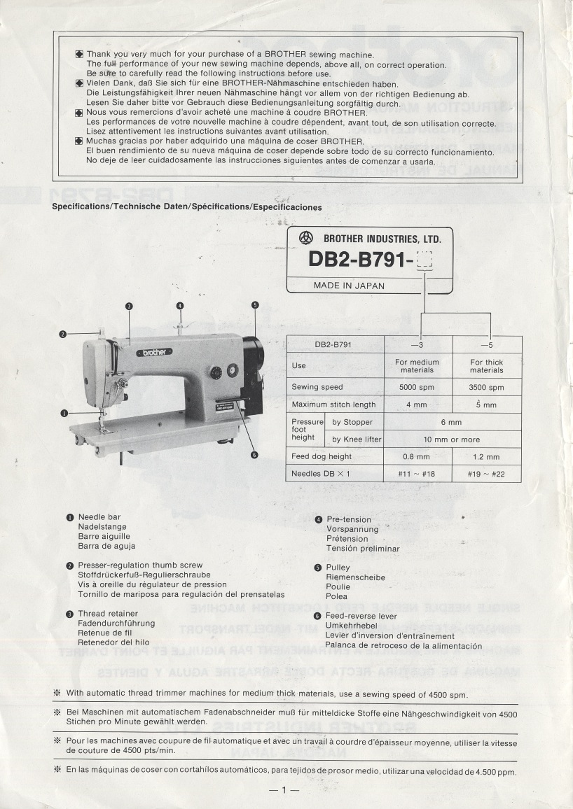 needlefeed company brother db2 b791 b7910 instruction manual rh needlefeed com Jerry Brothers Industries Brother Memphis TN